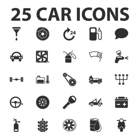 wipers: Car, repair 25 black simple icons set for web design Illustration