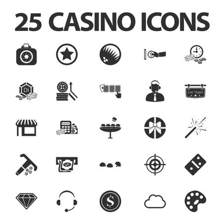 gambling: Casino, gambling 25 black simple icons set for web design Illustration