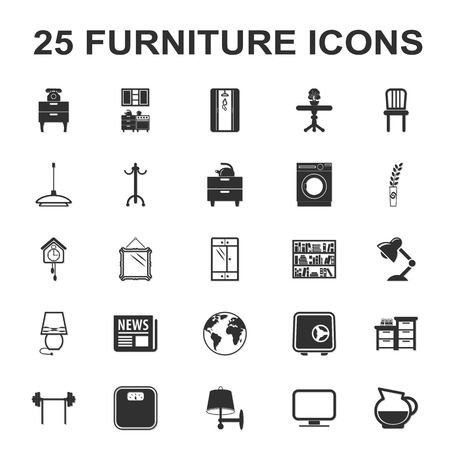 closet rod: furniture, interior 25 black simple icons set for web design
