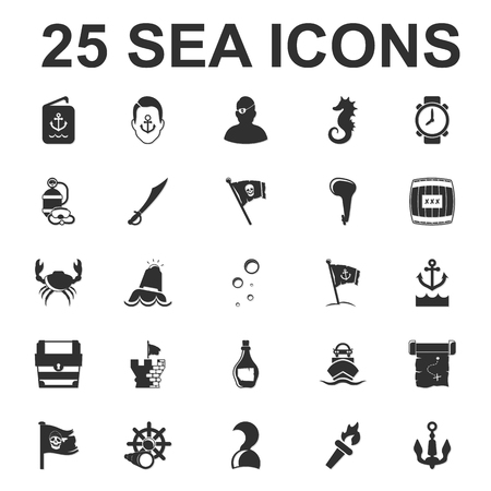 Sea, ocean, diving 25 black simple icons set for web design