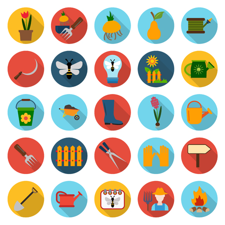 25: farm, gardening 25 flat icons set for web design