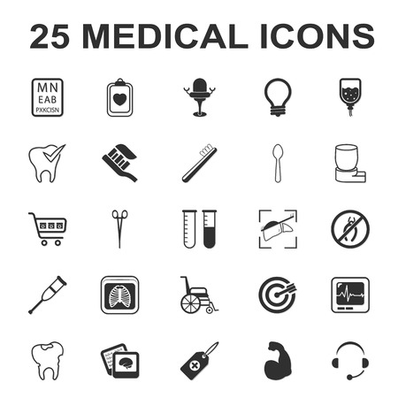cr: medicine,care,hospital 25 black simple icons set for web design