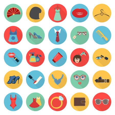 beuty: fashion, beuty, shoping 25 flat icons set for web design