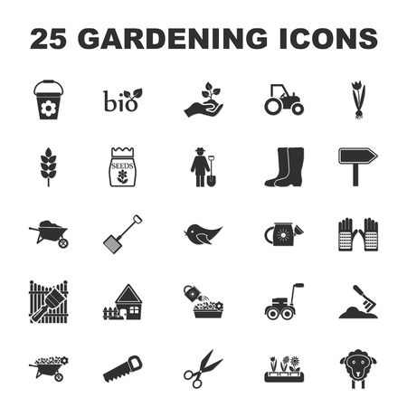 manure: farm, gardening 25 black simple icons set for web design