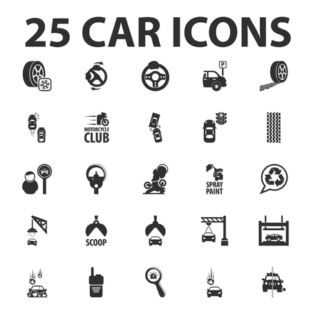 the traffic movement police: Car, repair 25 black simple icons set for web design Illustration