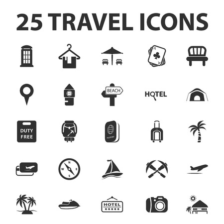 25: Travel, vacation 25 black simple icons set for web design