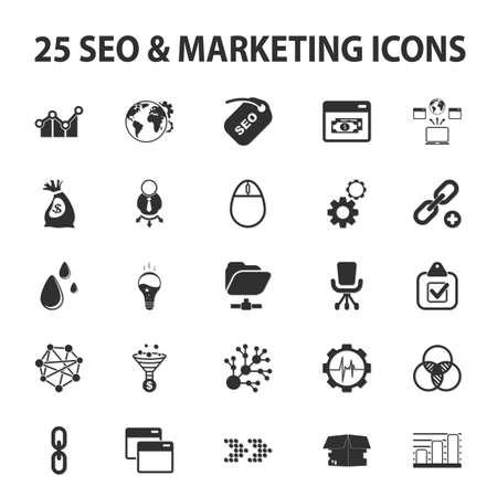 marketer: SEO, promotion, marketing, marketer 25 black simple icons set for web design Illustration