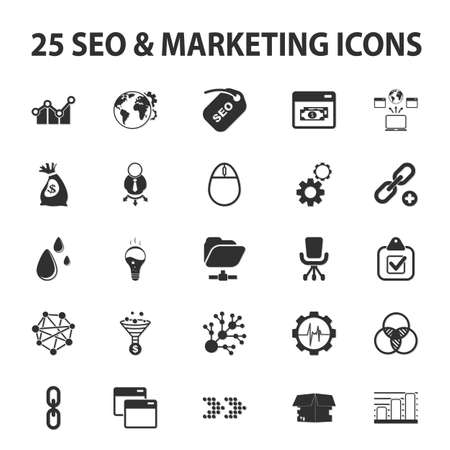 SEO, promotion, marketing, marketer 25 black simple icons set for web design Illustration