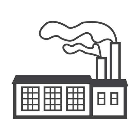 bionomics: factory black simple icon on white background for web design