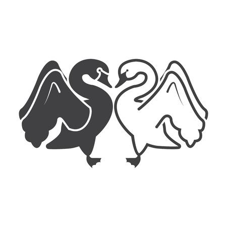 swans: swans black simple icon on white background for web design Illustration