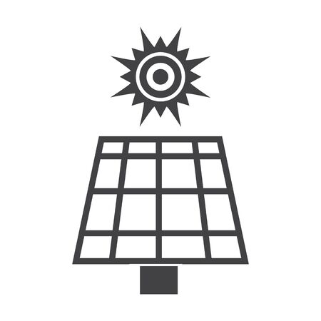 battery: solar battery black simple icon on white background for web design Illustration