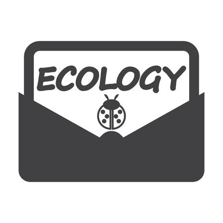 bionomics: envelope black simple icon on white background for web design Illustration