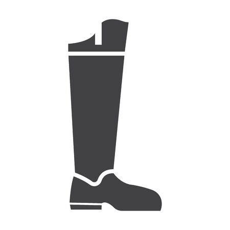 leather boots: boot black simple icon on white background for web design