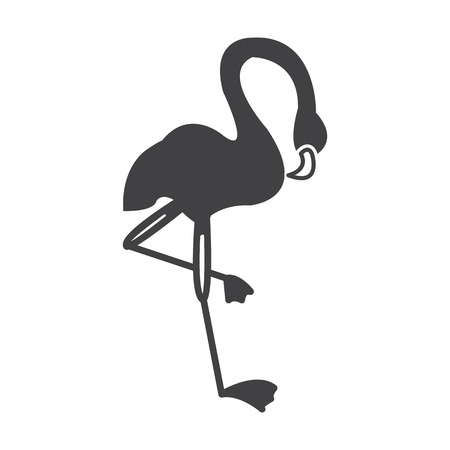 flamenco ave: flamingo black simple icon on white background for web design