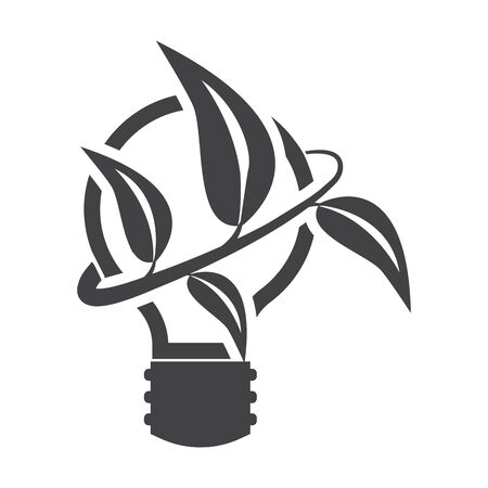 bionomics: lightbulb black simple icon on white background for web design