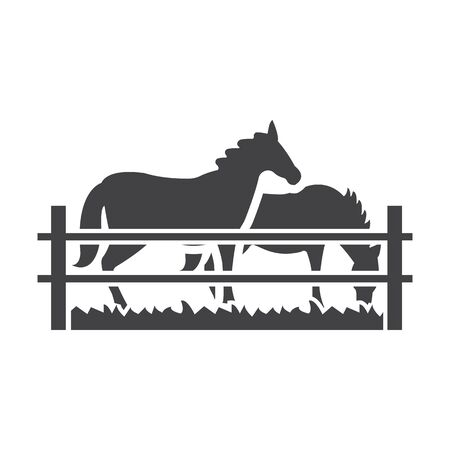 corral: horses black simple icon on white background for web design Illustration