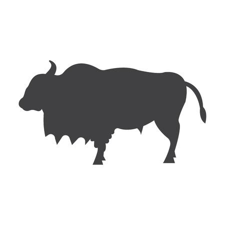 buffalo: buffalo black simple icon on white background for web design Illustration