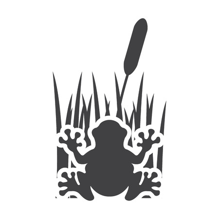 bionomics: toad black simple icon on white background for web design