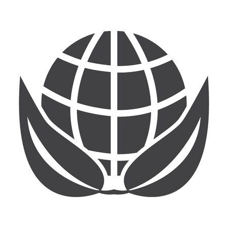bionomics: planet black simple icon on white background for web design Illustration