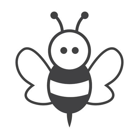 abejas: abeja negro simple icono en el fondo blanco para el dise�o web Vectores