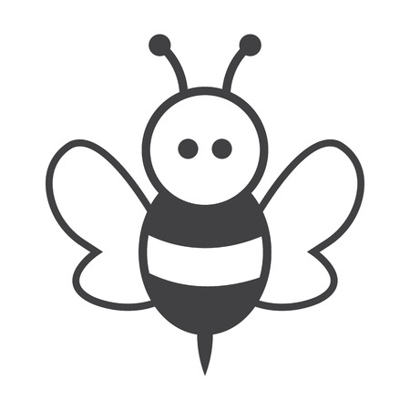 bees: bee black simple icon on white background for web design