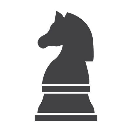 caballo de ajedrez: Caballero de ajedrez negro simple icono en el fondo blanco para el diseño web