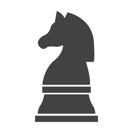 chess horse: chess knight black simple icon on white background for web design