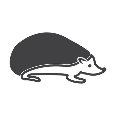hedgehog: hedgehog black simple icon on white background for web design Illustration