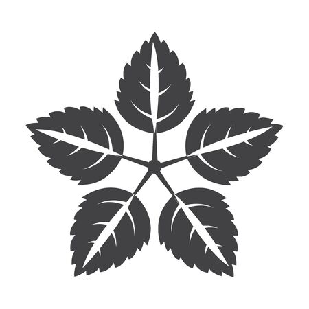 bionomics: leaves black simple icon on white background for web design