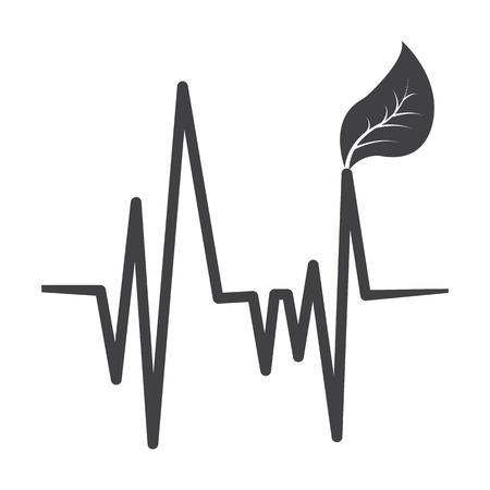 bionomics: cardiogram black simple icon on white background for web design