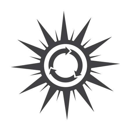 bionomics: sun,black simple icon on white background for web design