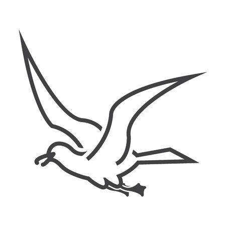 gull: gull black simple icon on white background for web design Illustration