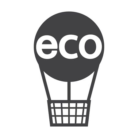 bionomics: balloon black simple icon on white background for web design