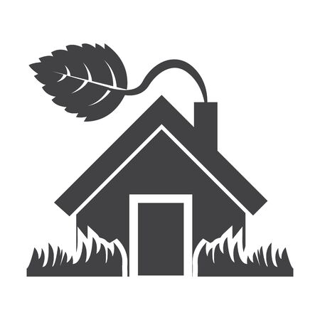 bionomics: house black simple icon on white background for web design