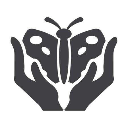 bionomics: hands black simple icon on white background for web design