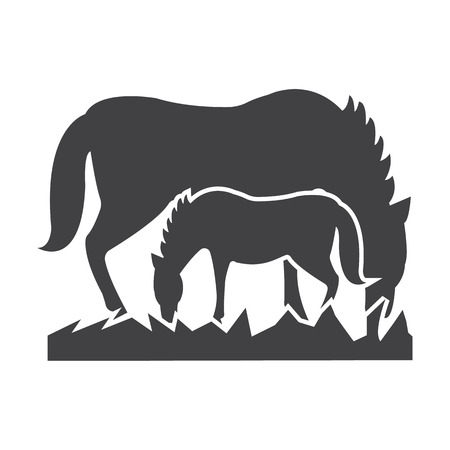 racecourse: horse, foal  black simple icon on white background for web design