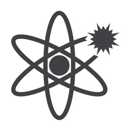 atomo: átomo negro simple icono en el fondo blanco para el diseño web Vectores