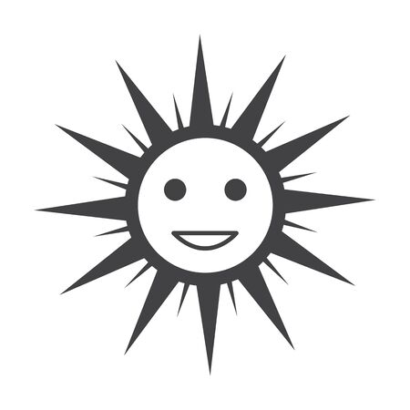 bionomics: sun black simple icon on white background for web design