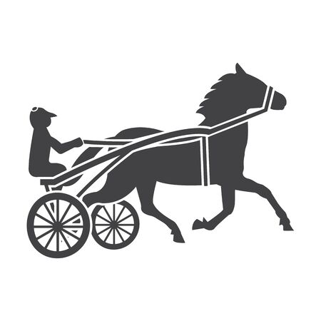 horse and cart: horse black simple icon on white background for web design