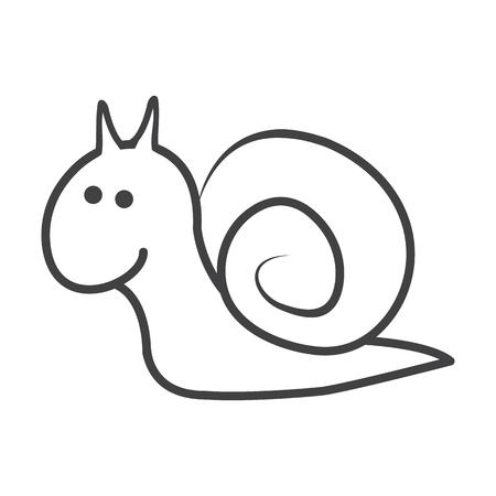 antennae: snail black simple icon on white background for web design