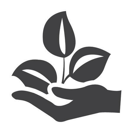 bionomics: hand black simple icon on white background for web design