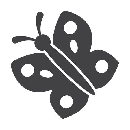 to flit: butterfly black simple icon on white background for web design
