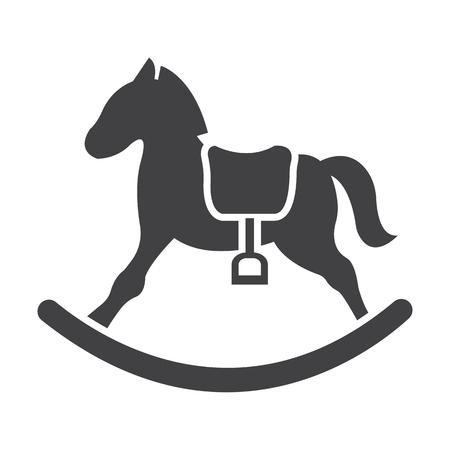 rocking: rocking horse black simple icon on white background for web design Illustration