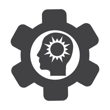 bionomics: cogwheel black simple icon on white background for web design Illustration