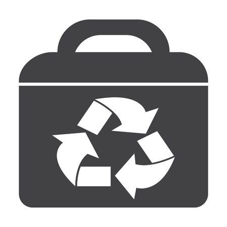 bionomics: suitcase black simple icon on white background for web design