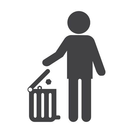 bionomics: man black simple icon on white background for web design Illustration
