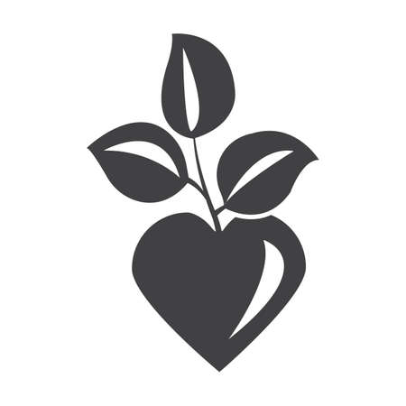petiole: heart black simple icon on white background for web design