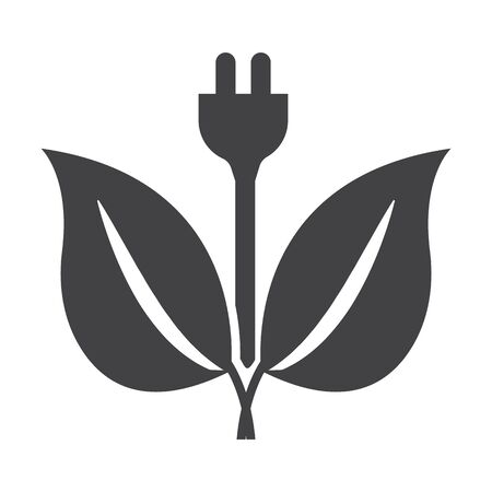 bionomics: plug black simple icon on white background for web design Illustration
