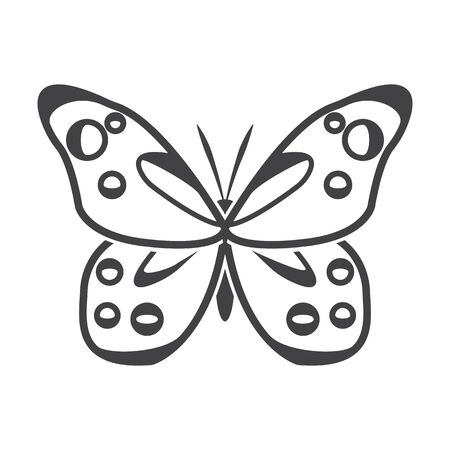 antennae: butterfly black simple icon on white background for web design