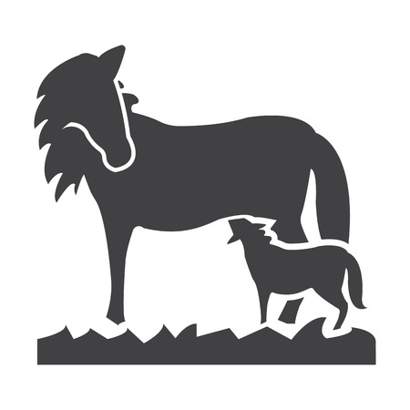 foal: horse, foal black simple icon on white background for web design Illustration